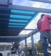 Metallic pergola with glass